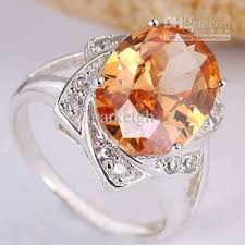 nice big rings images Big oval stone champagne brown citrine silver rings for women size jpg