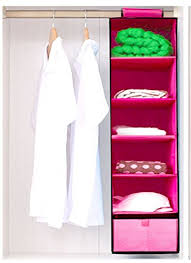 hllmart 6 shelves hanging closet organizer with one dra pink