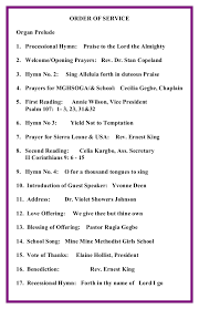 hymnsheet for the 1st anual thanksgiving service 2014