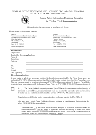 bureau int r general patent statement and licensing declaration form for