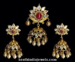 pachi work earrings pachi jhumka pendant with earrings south india jewels