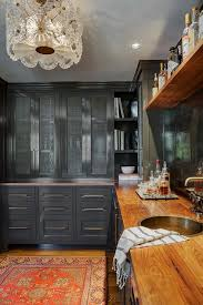 Kitchen Pantry Curtains Glass Front Butler Pantry Cabinets With Curtains Transitional