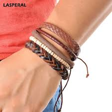 leather wrap bracelet men images Leather bracelet men multilayer bead bracelet punk wrap jpg