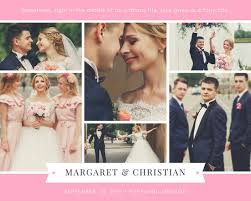 pink and white ribbon wedding photo collage templates by canva