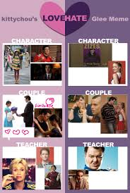 Glee Meme - glee meme love hate by kcullen9597 on deviantart