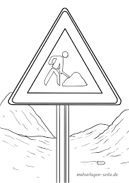 Panneau de signalisation Coloring site de construction  Coloriage