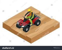 action park motocross atv rider action quad bike isometric stock vector 489445615