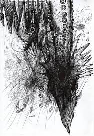 saatchi art space dragon line art macabre space flying demon