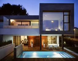 architecture homes semi detached homes with small pool and big glass window stunning