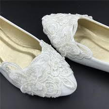 Wedding Shoes For Bride Comfortable Vintage Lace Butterfly Wedding Shoes Bridal Ballet Shoes Lace