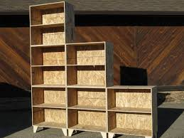 Unfinished Furniture Bookshelves by Hand Crafted Natural Osb Unfinished Modular Tansu Style Step