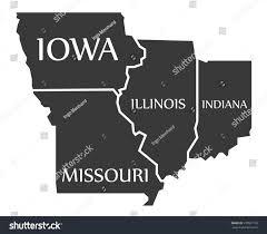 Iowa Illinois Map Iowa Missouri Illinois Indiana Map Labelled Stock Vector 570021109