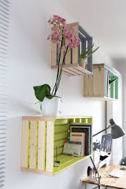 Wooden Crate Shelf Diy by Crate Shelf With Fabric Back And Painted Sides Diy Organization