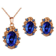 sapphire earrings necklace set images Vintage style sapphire royal blue antique gold stud earrings jpg