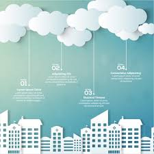 great infographic with buildings and clouds vector premium