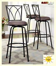 Outdoor Swivel Bar Stool Swivel Metal Stools 3 Set Adjustable Bar Height Black Kitchen