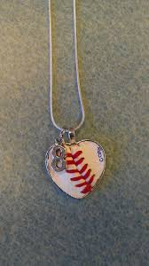 customized heart necklace real baseball or softball made into a heart necklace customized
