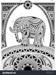 hand drawn ink zentangle elephant relax stock vector 430552489