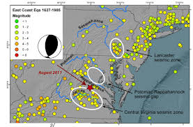 Virginia Mountains Map by August 2011 Virginia Earthquake