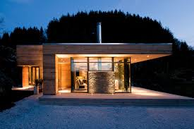 brown wooden wall and glass wall theme added by dark grey roof and