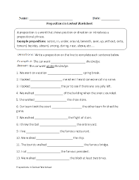 prepositions in context worksheet englishlinx com board
