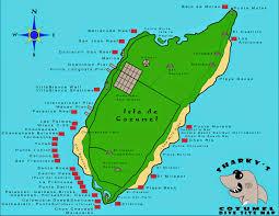 Cozumel Map The Shark Tank Radio Show Sharky U0027s Cozumel Dive Site Map
