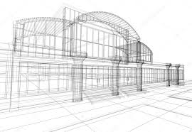 wireframe of office building u2014 stock photo artyfree 1594308