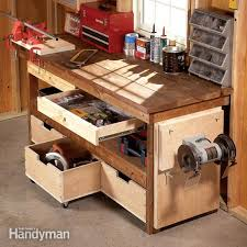 rolling work table plans workbench plans workbenches the family handyman 5 quick and cheap