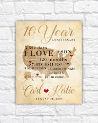 10 year wedding anniversary gift 10 year anniversary gift gift for his hers 10th