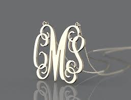 3 initial monogram necklace silver 200 best monogram silver necklace images on monogram