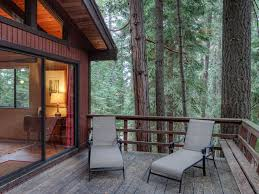 3br rustic modern cabin in the pines deck beach and pier tahoe
