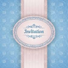 Background Of Invitation Card Invitation Card Template With Ornamental Ribbon And Curly