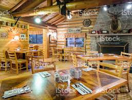 Dining Room With Fireplace by American Western Log Cabin Restaurant Dining Room With Fireplace