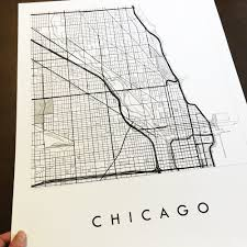 Chicago Street Map by Chicago Map Street Map Illinois City Map Drawing Black And