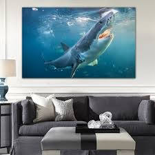 compare prices on blue canvas painting online shopping buy low gendi wall art canvas painting animal mediterranean oil painting shark akula blue sea landscape home decor