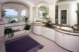 painted bathroom custom bathroom cabinets curved face sinks two level vessel sinks