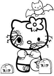 kitty halloween zombie coloring free printable