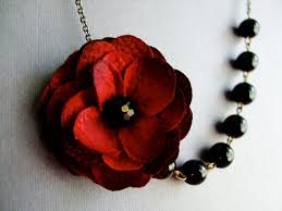 red flower necklace images Wedding jewelry set statement necklace dark red fabric flower jpg