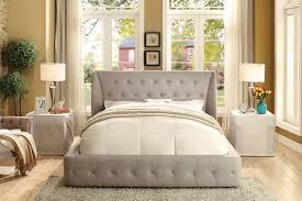 homelegance vienna upholstered wing platform bed light grey