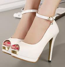 wedding shoes office ankle white heels bridal pumps shoes women high