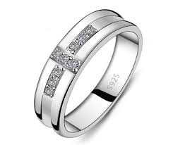 wedding bands for him cubic zirconia crossed wedding ring band for him and in 925