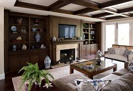 Hearth Cabinets Dark Stained Cabinets And Beams Limestone Fireplace And Hearth