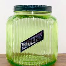 vintage glass canisters kitchen shop green cookie jar on wanelo