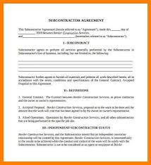 subcontractor agreement subcontractor agreement forms by