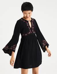 bell sleeve dress american eagle outfitters