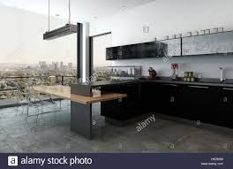 modern luxury kitchen in a high rise apartment with bar counter