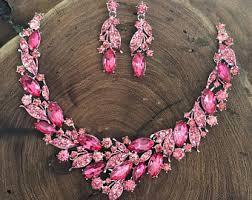 pink rhinestone necklace images Pink rhinestone etsy jpg