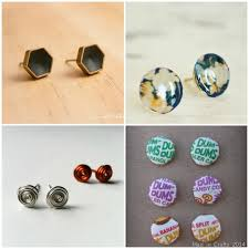 diy button earrings 20 diy stud earring tutorials mad in crafts