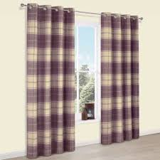 Purple Curtains Esmeralda Purple Check Thermal Eyelet Lined Curtains W 117 Cm L