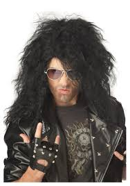 metal hair black heavy metal wig